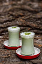 Green tea frappe two glass of Royalty Free Stock Photography