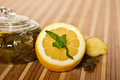 Green tea fresh mint lemon Royalty Free Stock Images