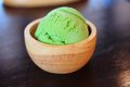 Green tea ice cream or matcha ice Royalty Free Stock Photo