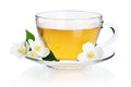 Green tea with jasmine cup of flowers isolated on white background clipping path included Royalty Free Stock Images