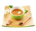 Green tea with jasmine and sugar cup of on a tray made ​​of bamboo Royalty Free Stock Photos