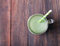 Green tea latte in a glass jar Royalty Free Stock Photo