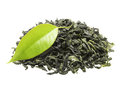 Green tea with leaf isolated on white background Royalty Free Stock Photo