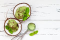 Green tea matcha mint ice cream with chocolate and coconut milk. Royalty Free Stock Photo