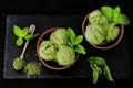 Green tea matcha mint ice cream with coconut milk. Royalty Free Stock Photo