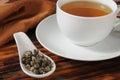 Green tea pearls a sample spoon of hand sewn jasmine infused Stock Photo