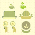 Green tea retro lables set colored illustration eps rgb illustration can be used as template for cafe restaurants food bar also Royalty Free Stock Image
