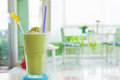 Green tea smoothie in relax room Stock Photography