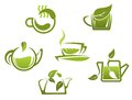 Green tea symbols and icons for fast food or cafe design Royalty Free Stock Photo
