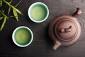 Green tea in the tea cups Royalty Free Stock Photo