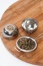 Green tea in tea strainer on the wooden board Stock Photo