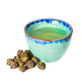 Green tea on white background Royalty Free Stock Image