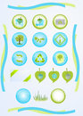 Green tech set of vector icons for technologies Royalty Free Stock Images
