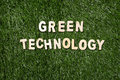 Green Technology Wooden Sign On Grass Royalty Free Stock Photo