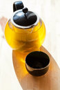 Green tee in teapot and drinking bowl Royalty Free Stock Photo