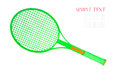 Green tennis racket isolated on white background Stock Photos