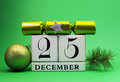 Green theme save the date white calendar for Christmas Day, December 25. Stock Photo