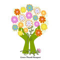 Green thumb bouquet of pretty flower blossoms cupped in hands concept Stock Photo