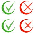 Green tick and red cross checkmarks. Line check mark.