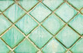 Green tile background, old tile Royalty Free Stock Photo