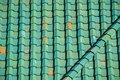Green tile roof for background Royalty Free Stock Photo