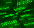 Green tilted bytes of binary code flying Royalty Free Stock Images