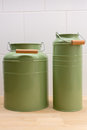 Green tin containers with different size used in the kitchen Stock Photography