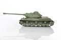 Green toy tank on a white background with reflection Stock Images