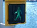 Green trafic light for walking Royalty Free Stock Photos
