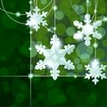 Green transparent banner with snowflake ornaments Royalty Free Stock Images
