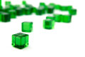 Green transparent cubes isolated white background Royalty Free Stock Photo