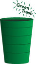 Green trash bucket symbolizing environmentally friendly garbage Stock Photo