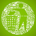 Green trash symbol Royalty Free Stock Image