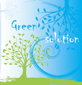 Green tree abstract ecological background vector illustration Royalty Free Stock Photo