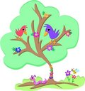 Green Tree with Birds, Worm and Bee Stock Photo