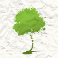 Green tree. Crumpled paper Royalty Free Stock Image
