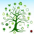 Green tree and environmental icons Royalty Free Stock Photo