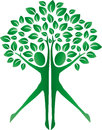Green tree human bodies logotype
