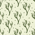 Green tree and leaves seamles pattern