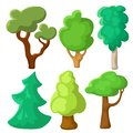 Green tree set in cartoon style. Summer tree vector clipart on white background. Natural clip art with summer landscape Royalty Free Stock Photo