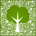 Green tree shape over eco icons background Royalty Free Stock Photo