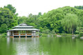 Green tree, traditional Japanese house, garden and water pond Royalty Free Stock Photo