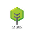 Green tree - vector business logo template concept illustration in flat style. Landscape forest creative sign. Nature symbol.