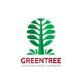 Green tree - vector logo template concept illustration in flat style. Landscape forest creative sign. Nature symbol.
