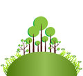 Green trees illustration of abstract and grass Royalty Free Stock Photography