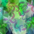 Green triangle and polygonal background with grub elements abstract Stock Photo