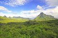 Green tropical landscape moorea french polynesia and blue sky Royalty Free Stock Image
