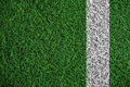 Green turf grass texture with white line, in soccer field Royalty Free Stock Photo