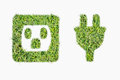 Green turf logo power plug and outlet Royalty Free Stock Photo