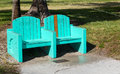 Green turquoise street bench in Miami beach Stock Photography